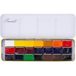 Краски художественные акварельные Невская палитра Сонет 21 цвет 2.5 мл металлический пенал жёлтый