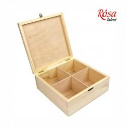 Шкатулка деревянная с замком четыре ячейки 20х20х8см ROSA TALENT