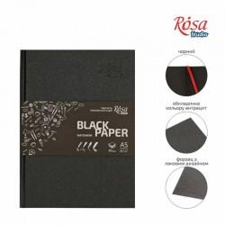 Блокнот A5 (14,8х21см) черная бумага 80г/м 96л ROSA Studio