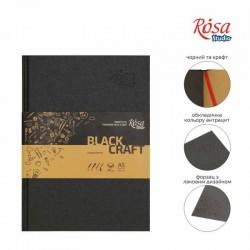 Блокнот A5 (14,8х21см) черная и крафт бумага 80г/м 96л ROSA Studio