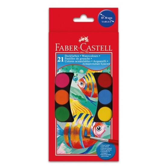 Акварель Faber Castell 21 цв сухие с кисточкой D30мм (125021)