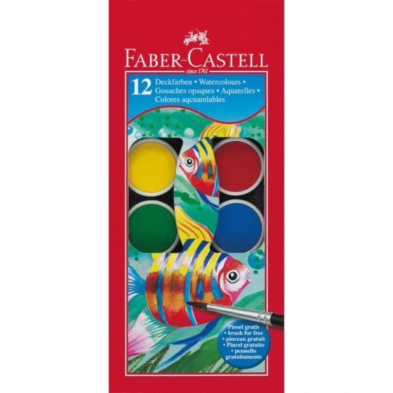 Акварель Faber Castell 12 цв сухие с кисточкой D30мм (125012)