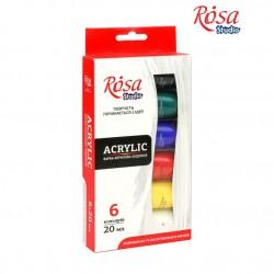 Набор акриловых красок 6 цветов 20мл ROSA Studio