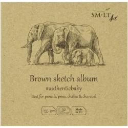 Альбом для ескизов AUTHENTIC Baby 9х9см 135г/м2 32л коричневый цвет SMILTAINIS