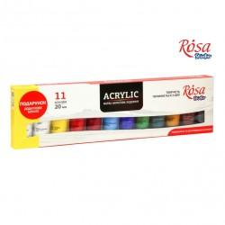 Набор акриловых красок 11 цветов 20мл ROSA Studio