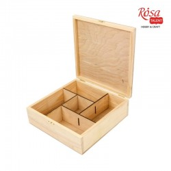 Шкатулка деревянная с замком 5 ячеек 24х24х8см ROSA TALENT