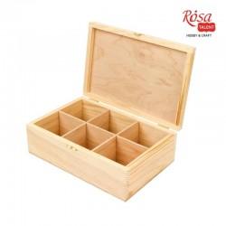 Шкатулка деревянная с замком 6 ячеек 24х16х8см ROSA TALENT