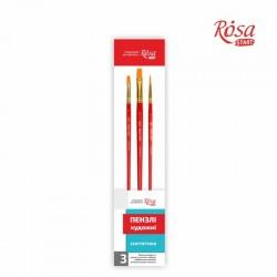 Набор кистей 3 синтетика 3шт плоская № 8,12 круглая №6 ROSA START