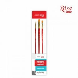 Набор кистей 5 синтетика 3шт плоская № 8,10 круглая №2 ROSA START
