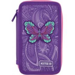 Пенал без наполнения Kite Education Flowery 2 отделения Фиолетовый K20-623-1