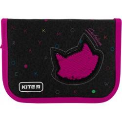 Пенал без наполнения Kite Education Catsline 1 отделение 1 отворот Черный K20-621-1