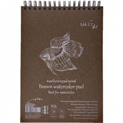 Альбом для акварели на спирали AUTHENTIC А5 280г/м2 20л коричневый цвет SMILTAINIS