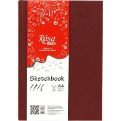 Блокнот A4 (14,8*21см), 100г/м, 96л., бордо, ROSA Studio