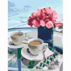 """Набор-стандарт акриловая живопись по номерам """"Кофе и цветы"""" 35х45см ROSA START"""